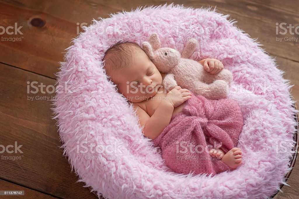 Newborn Girl Sleeping with a Bunny Stuffed Animal stock photo