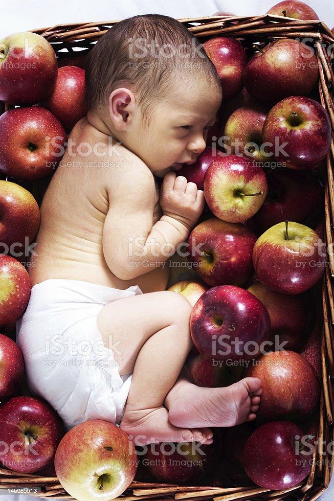 Newborn in apples royalty-free stock photo