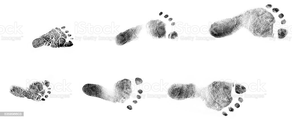Newborn Infant Baby Toddler Ink Stamp Footprints Progression Isolated stock photo