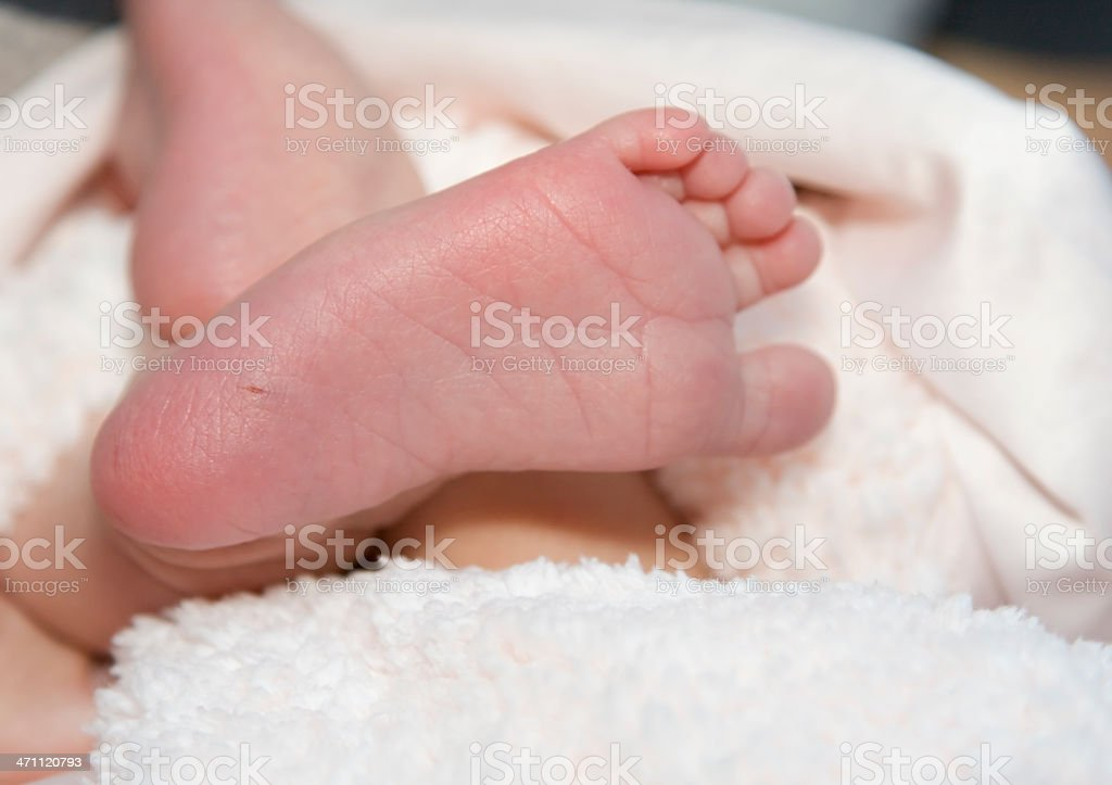 Newborn Infant Sole of Foot, Child, Phenylketonuria (PKU) Test stock photo