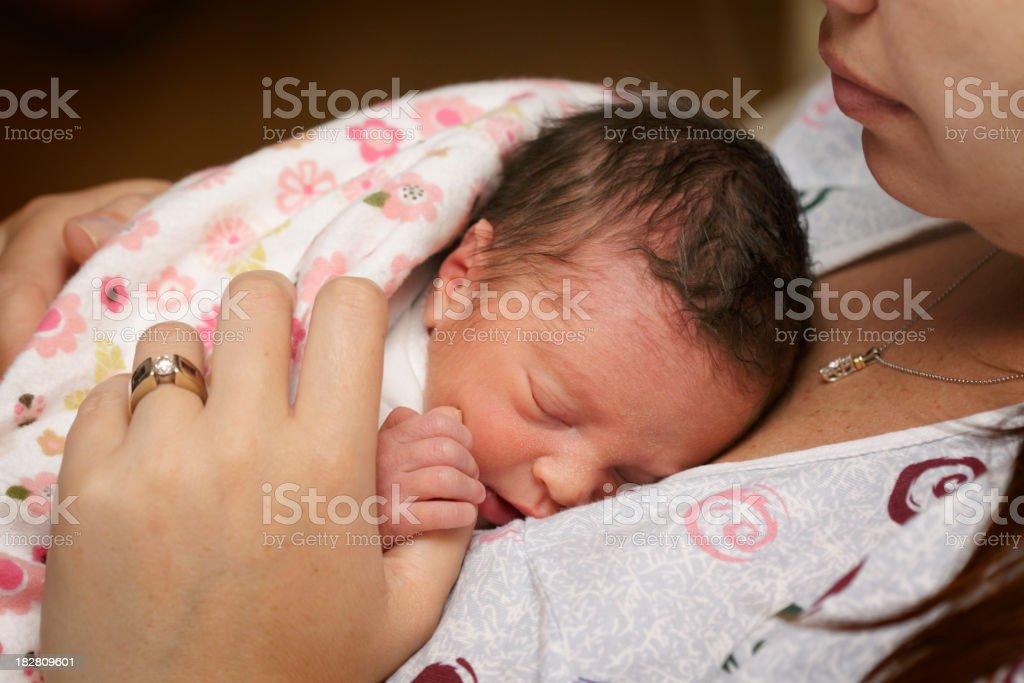 Newborn Preemie with Mother stock photo
