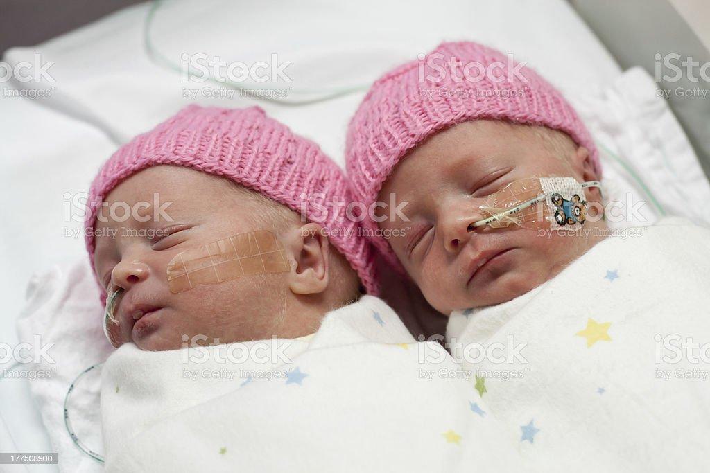 Newborn, premature twin girls stock photo