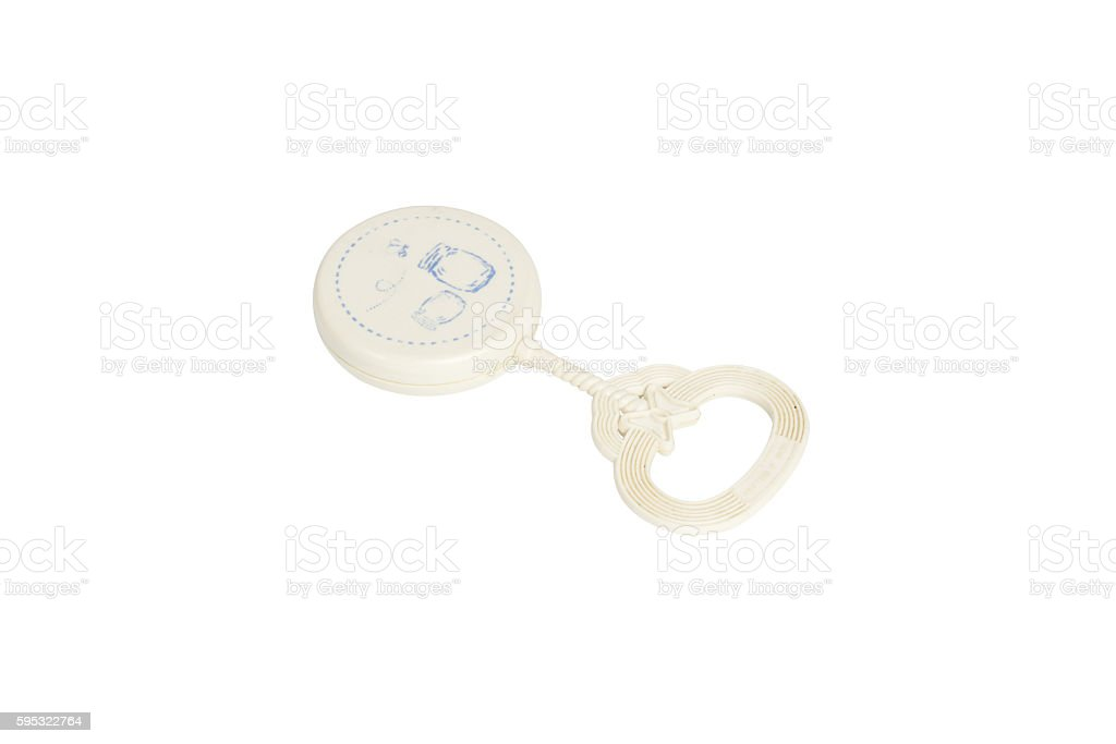 Newborn rattle toy isolated on white background. Clipping path stock photo