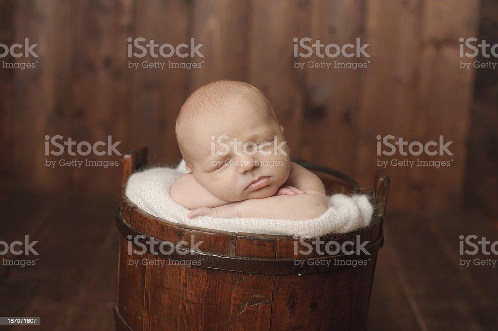 Newborn Sleeping in Bucket royalty-free stock photo