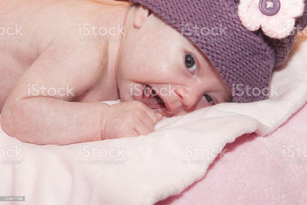 Newborn smiling royalty-free stock photo
