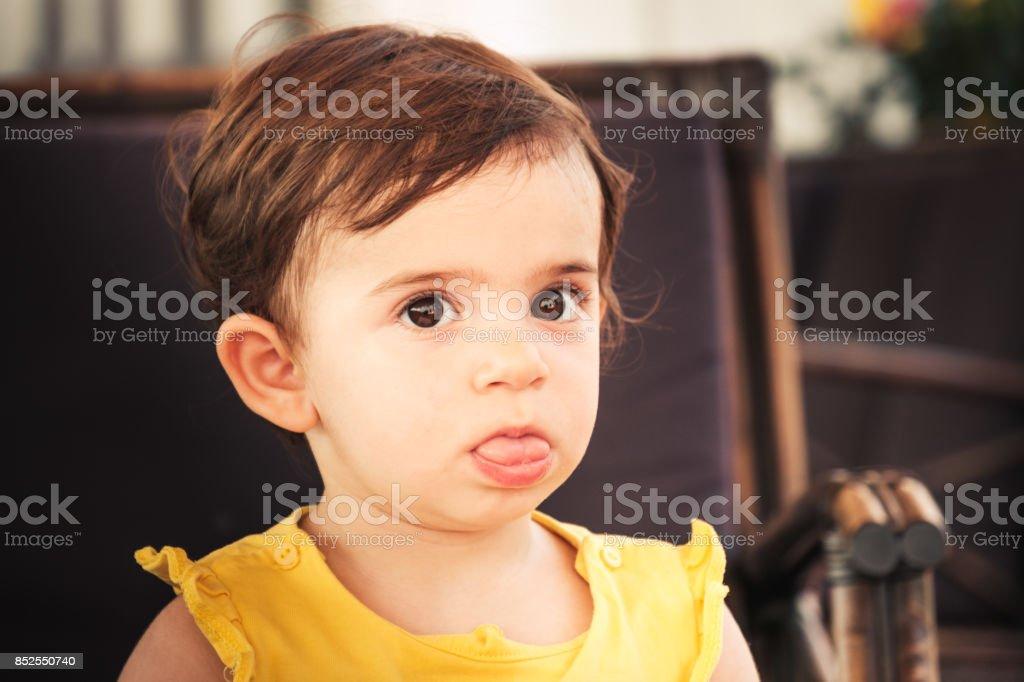 newborn tongue baby child stock photo