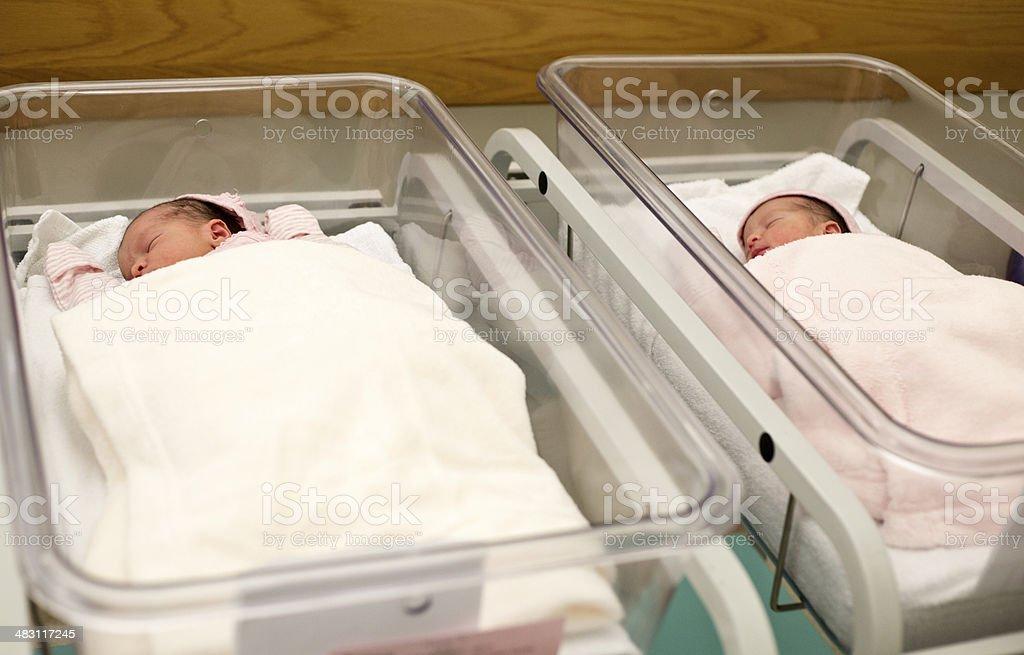 Newborn twins in hospital stock photo