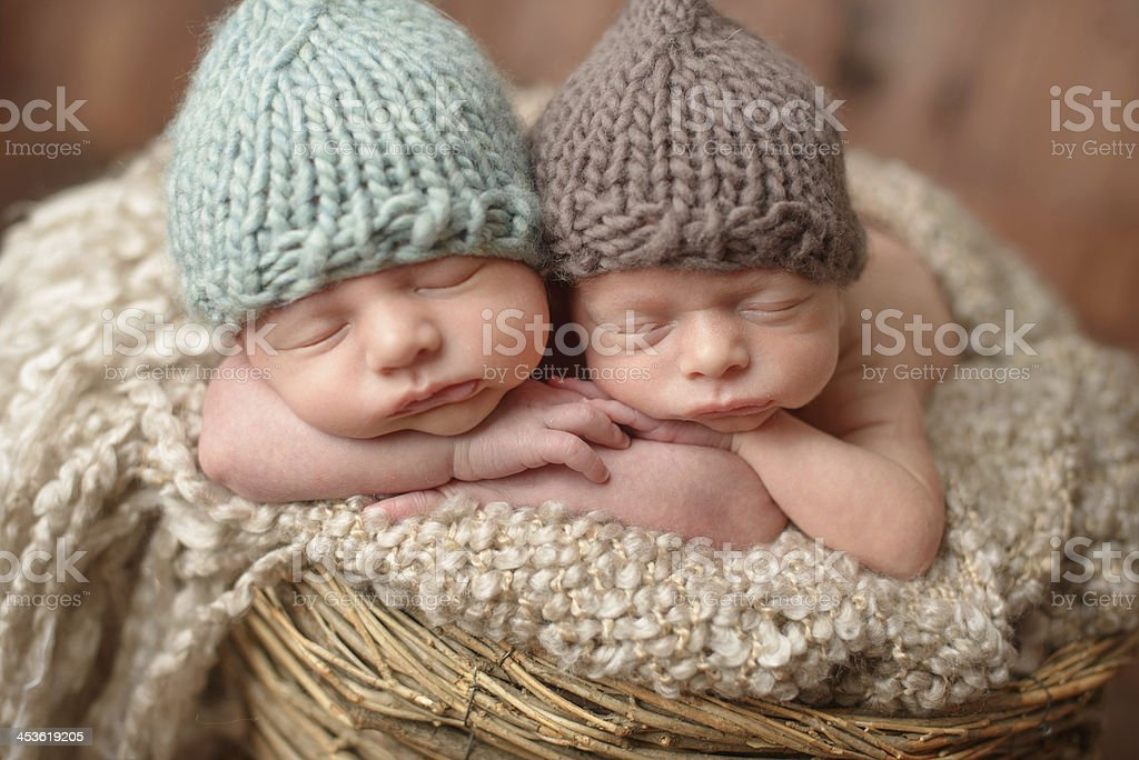 Newborn twins wearing tricot hats and sleeping in a basket stock photo