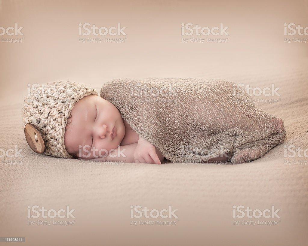 Newborn with Beany royalty-free stock photo