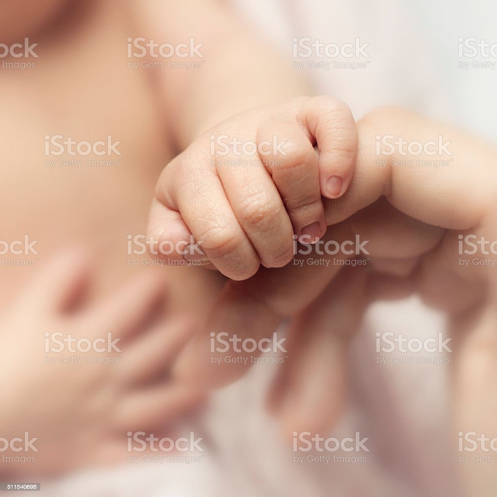 Newborn's hand stock photo