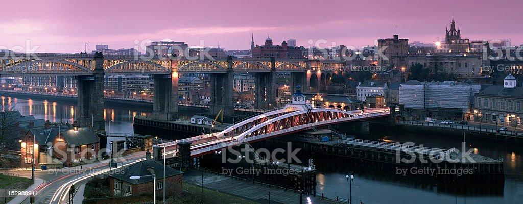 Newcastle Gateshead Quayside Panorama stock photo
