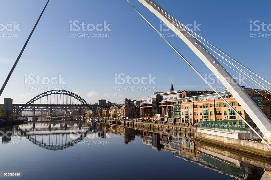 Newcastle Gateshead Quayside with Millenium and Tyne Bridges in stock photo