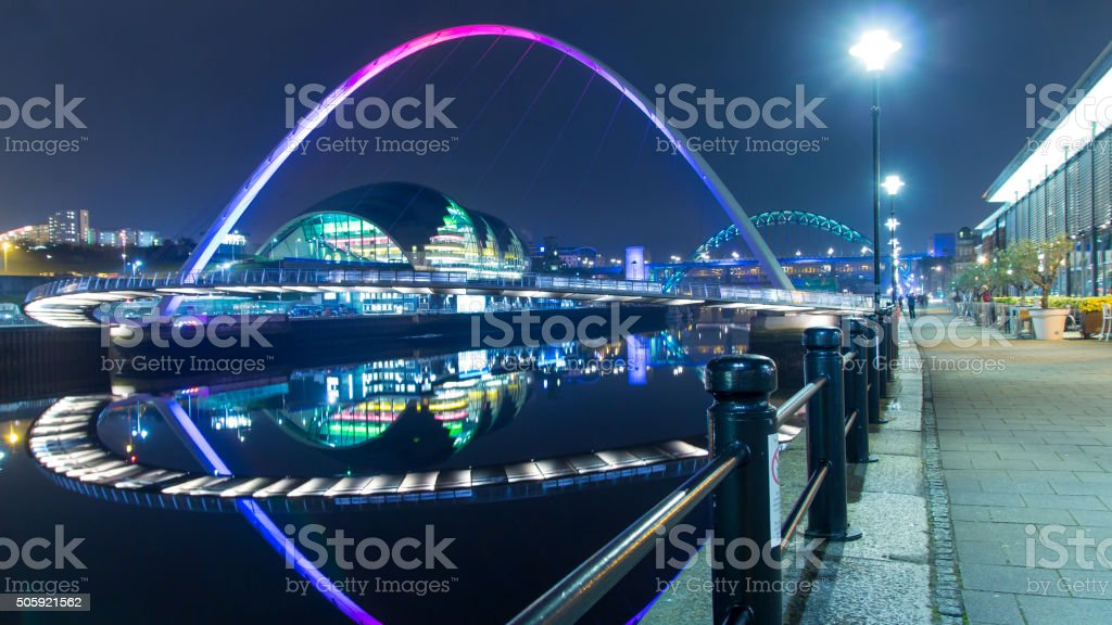 Newcastle Quayside Cityscape At Night stock photo