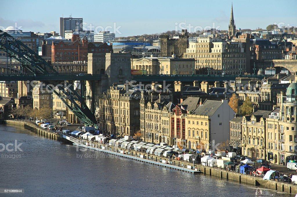 Newcastle Quayside & Market stock photo