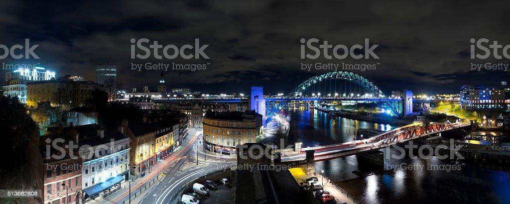 Newcastle Quayside Panorama stock photo