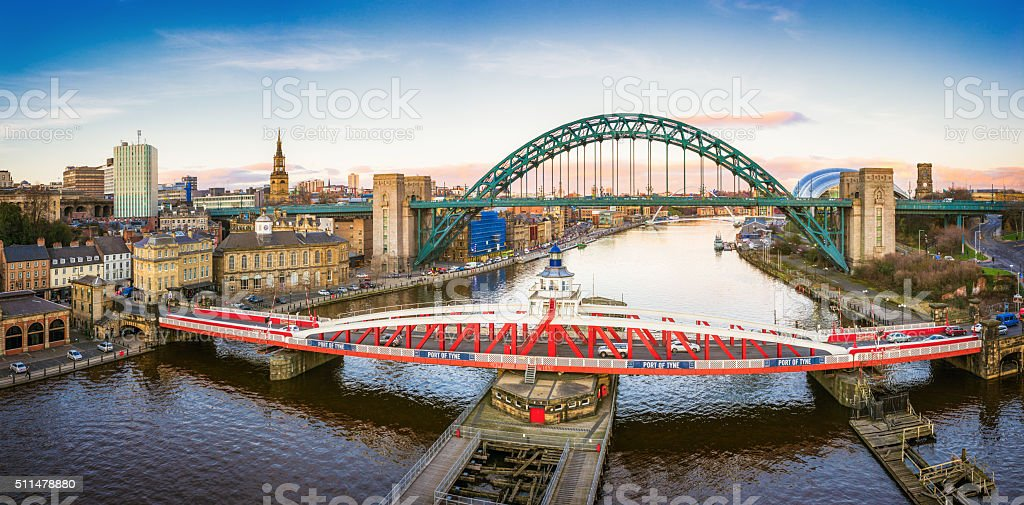 Newcastle River Tyne and City Panorama stock photo