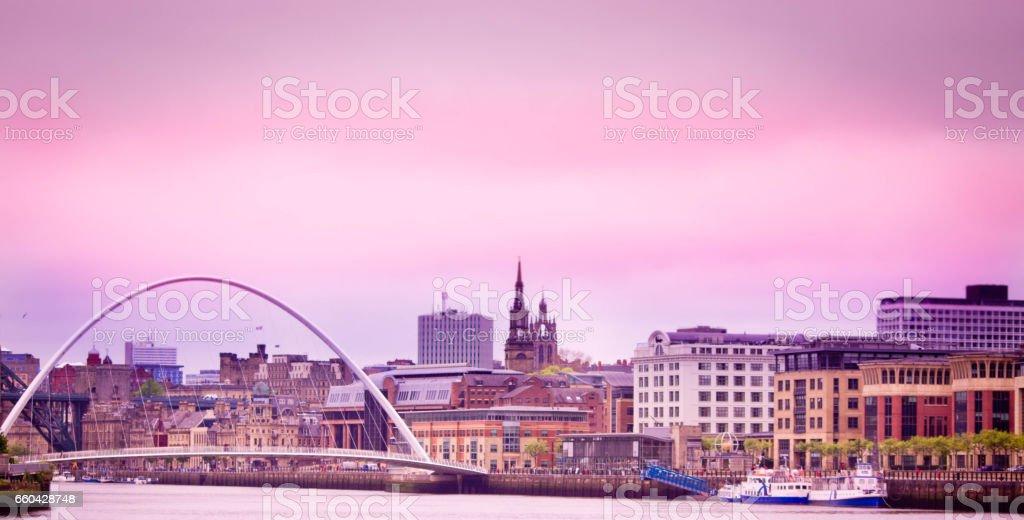 Newcastle-upon-Tyne skyline at dusk stock photo