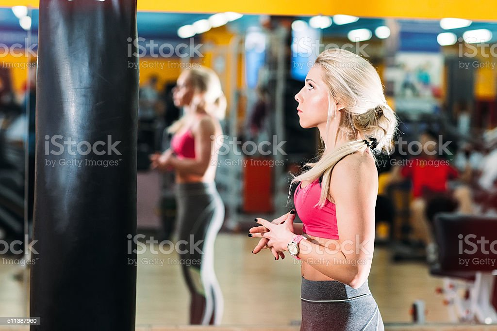 Newcomer girl in the gym stock photo