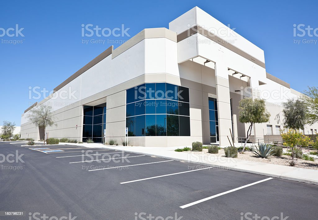 Newer white office building from street view  stock photo