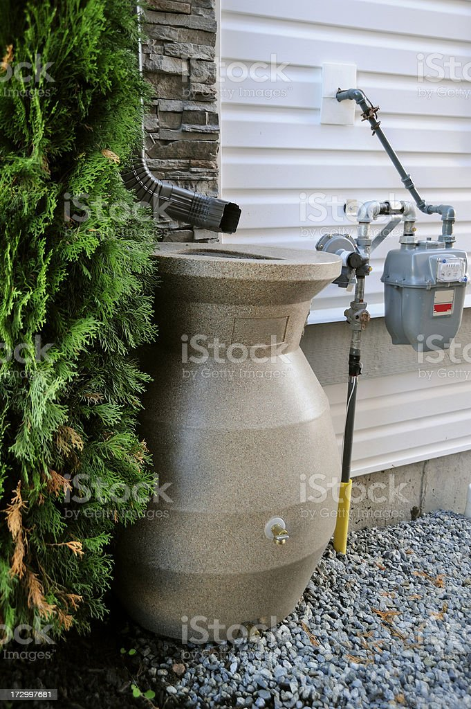 Newfangled Rain Barrel stock photo