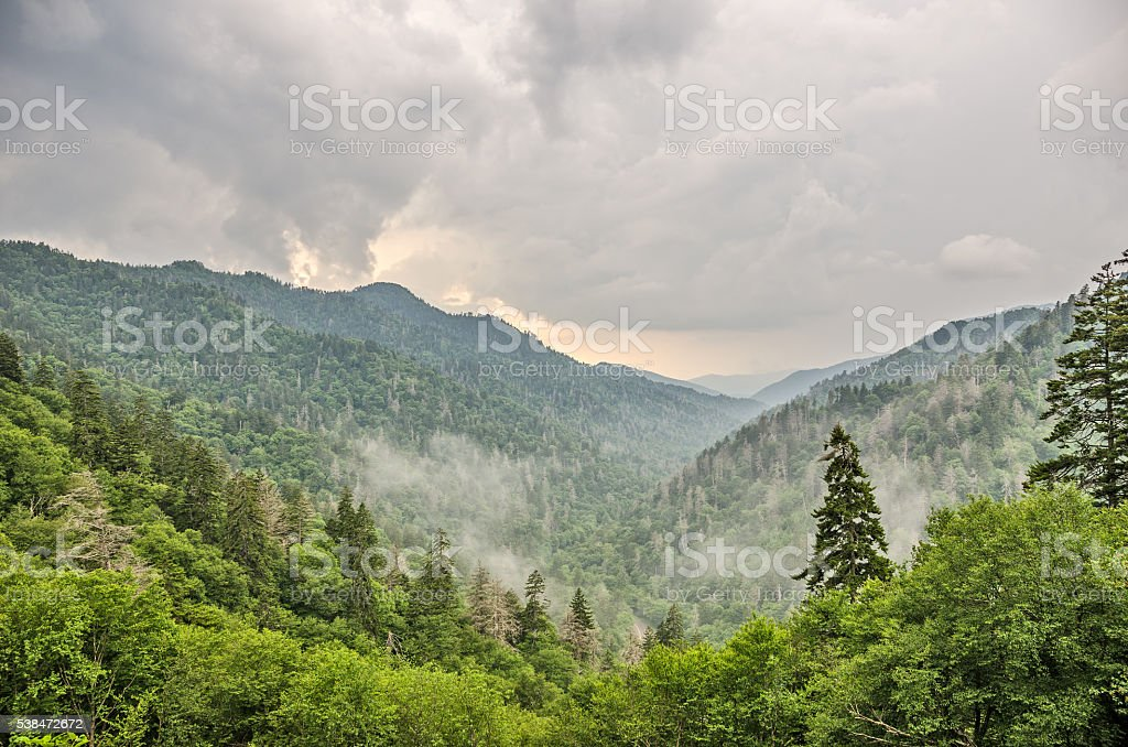 Newfound Gap in Great Smoky Mountains National Park stock photo