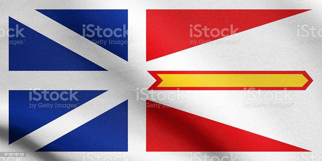 Newfoundland and Labrador flag wavy fabric texture stock photo