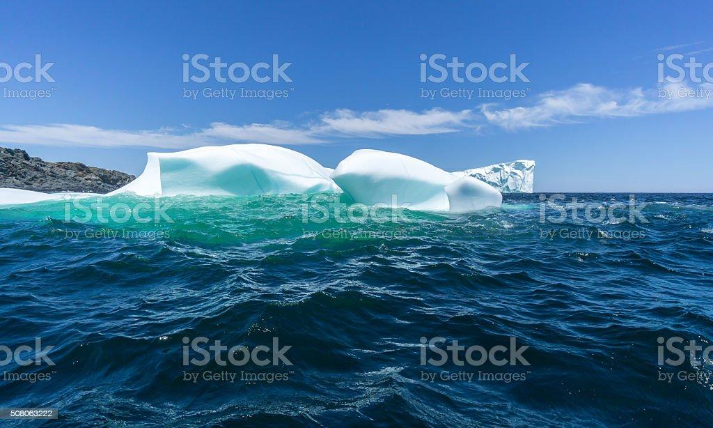 Newfoundland Overlapping Icebergs stock photo