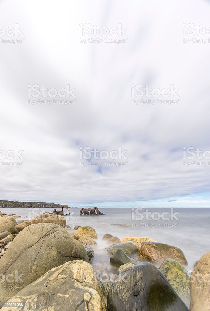 Newfoundland Shipwreck at Martin's Point stock photo