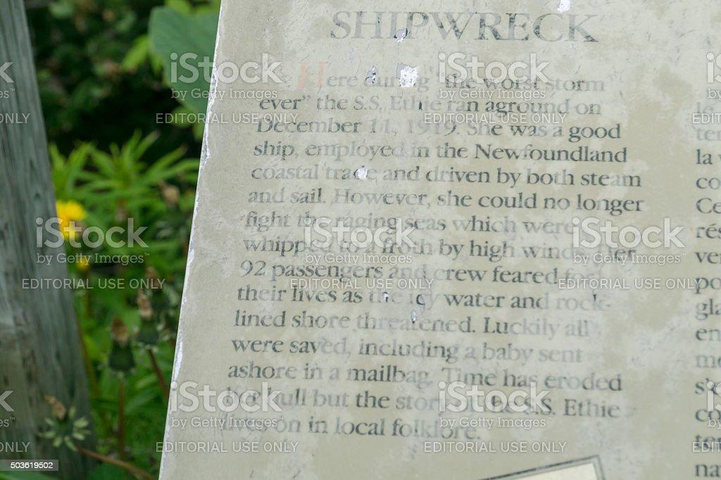 Newfoundland SS Ethie Plaque stock photo