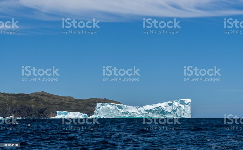 Newfoundland Two Icebergs in the Distance stock photo