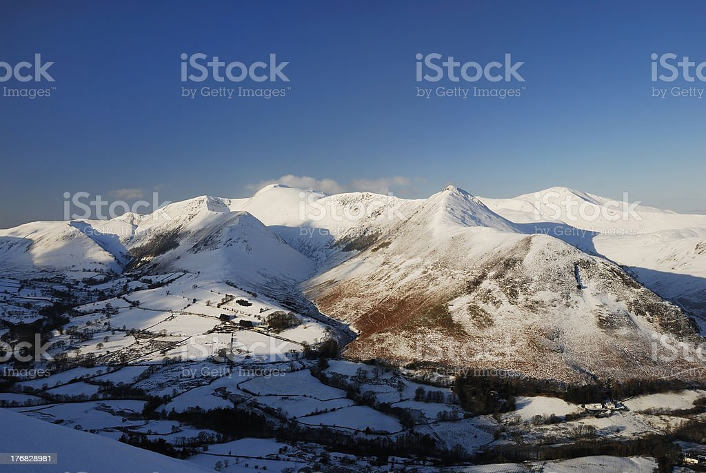 Newlands Valley and Derwent Fells in winter stock photo