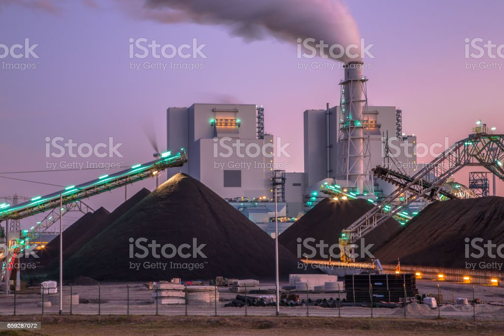 Newly built coal powered  plant stock photo