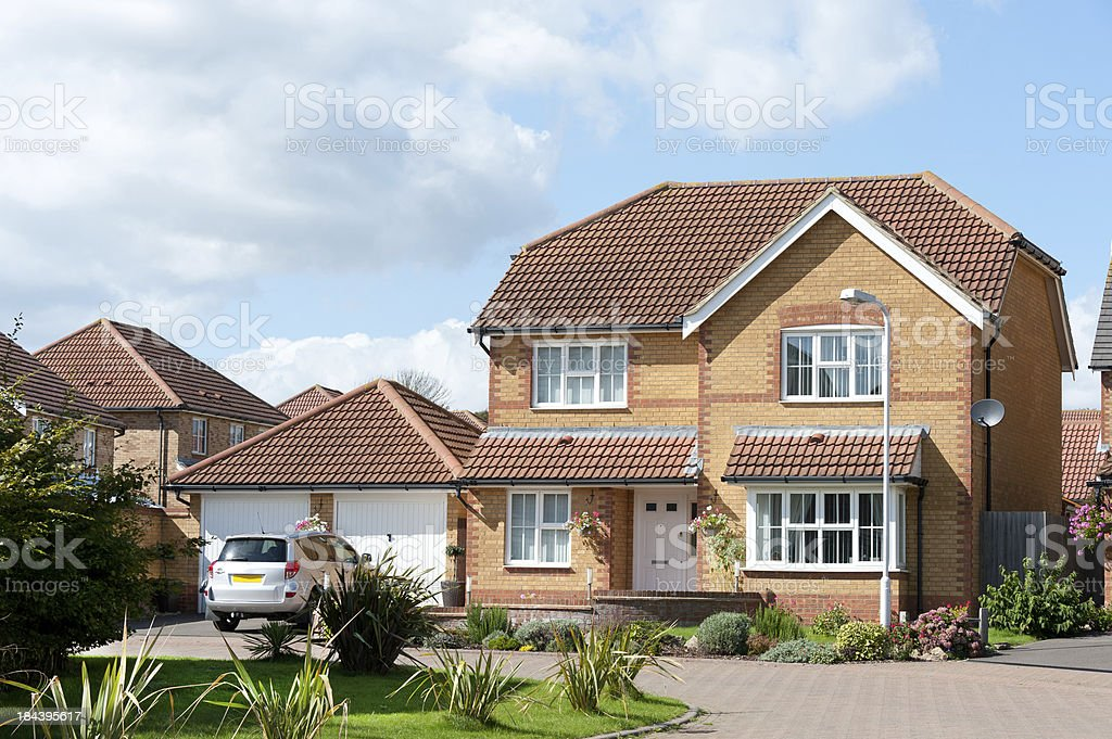 Newly built detached house with double garage stock photo