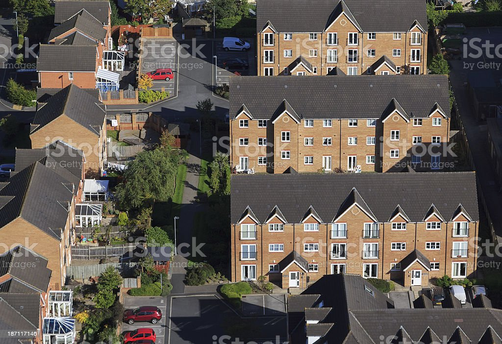Newly built homes from above royalty-free stock photo