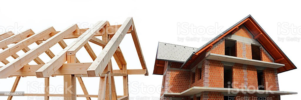 Newly Built House in wood and stone stock photo