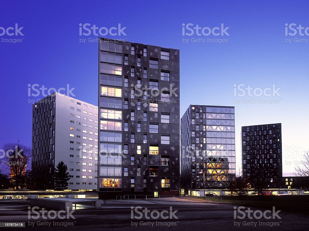 Newly built residential and business area in The Netherlands stock photo