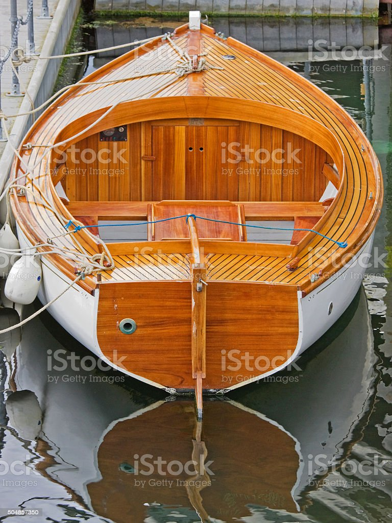 Newly built wooden sailing boat in a UK harbour stock photo