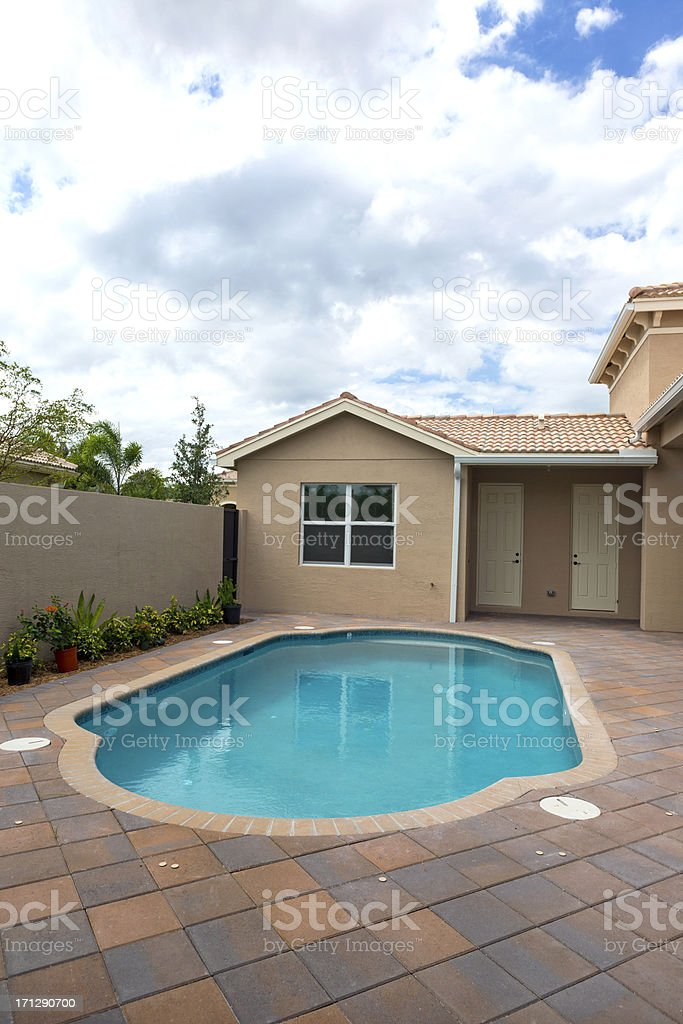 Newly completed cement Swimming Pool stock photo
