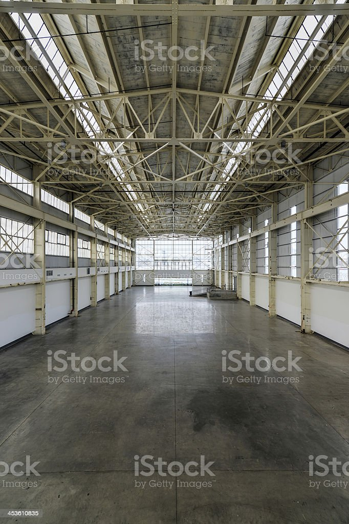 Newly constructed empty warehouse/factory from above royalty-free stock photo