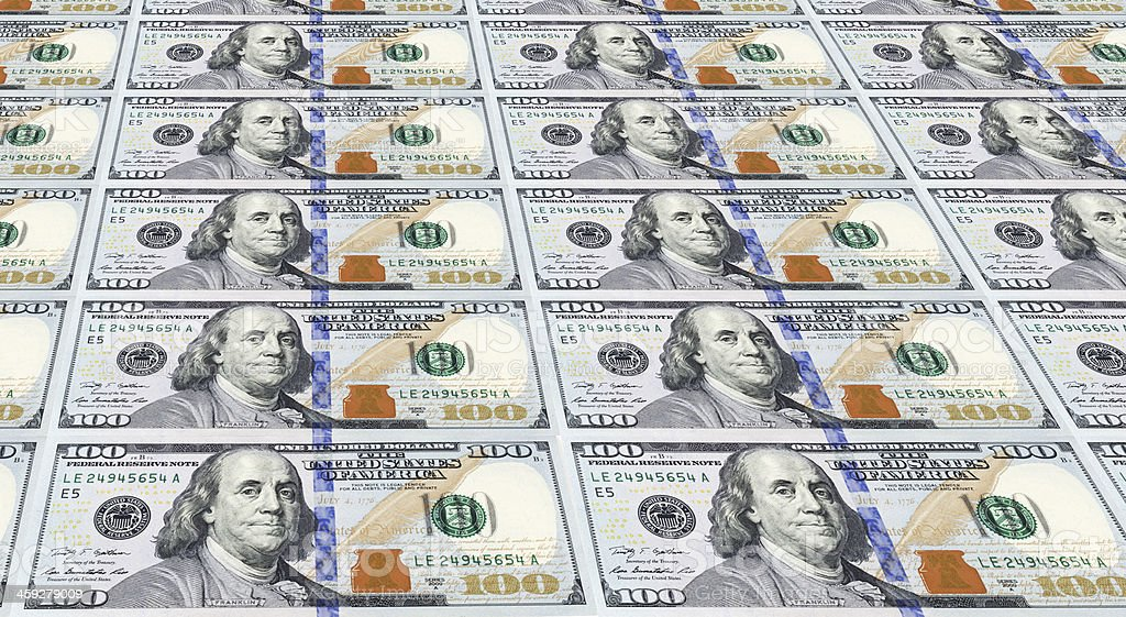 Newly Designed U.S. One Hundred Dollar Bills. stock photo