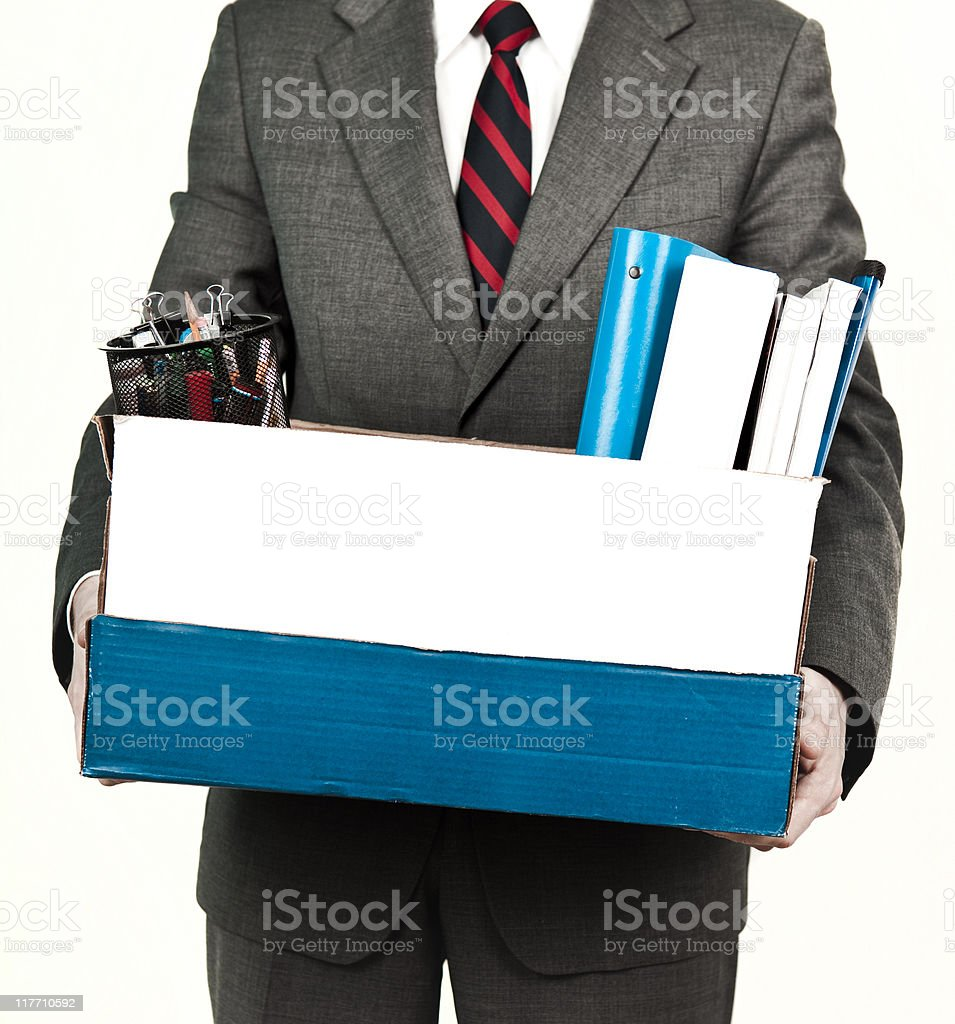 Newly fired employee going home royalty-free stock photo