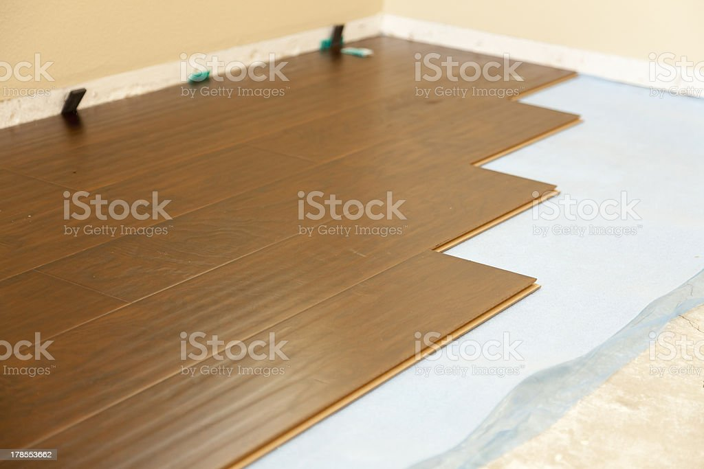 Newly Installed Brown Laminate Flooring royalty-free stock photo