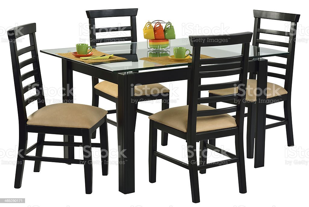A newly laid dining table in a clipping path style  royalty-free stock photo