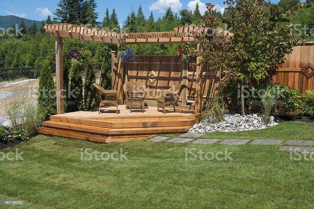 Newly Landscaped Outdoor Space stock photo