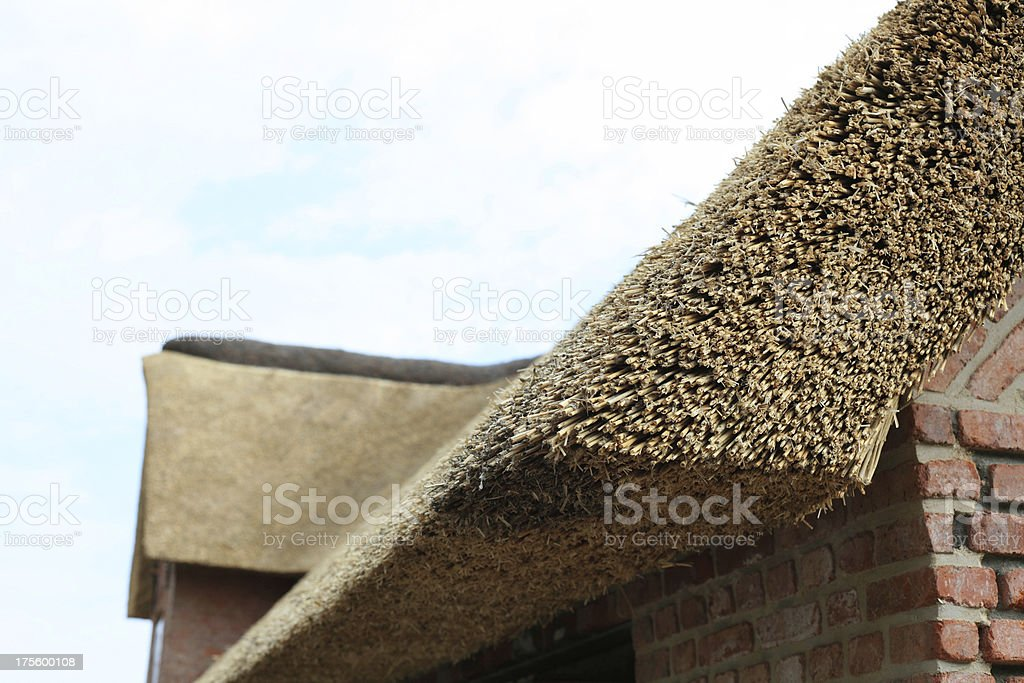 newly made thatched roof stock photo