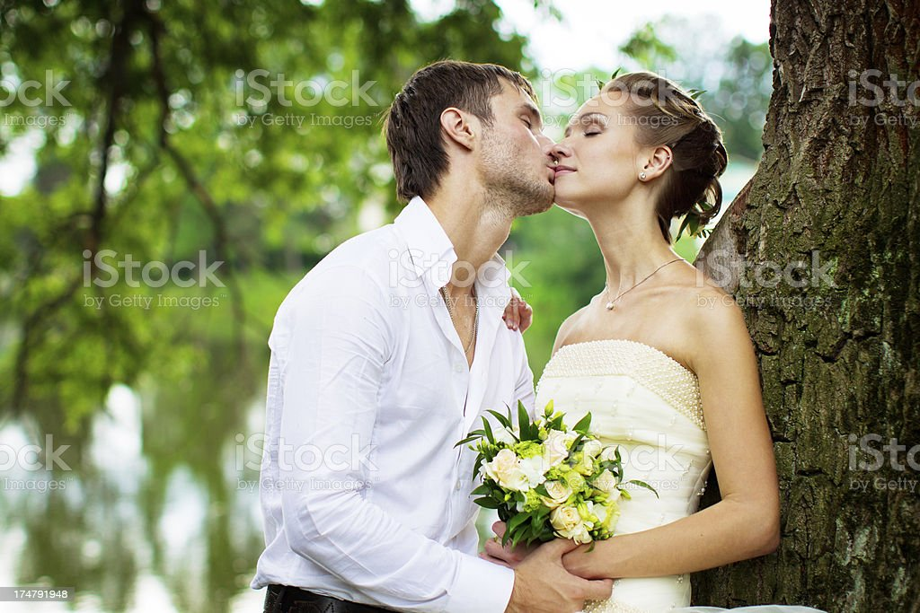Newly married couple kissing in the park near a tree royalty-free stock photo