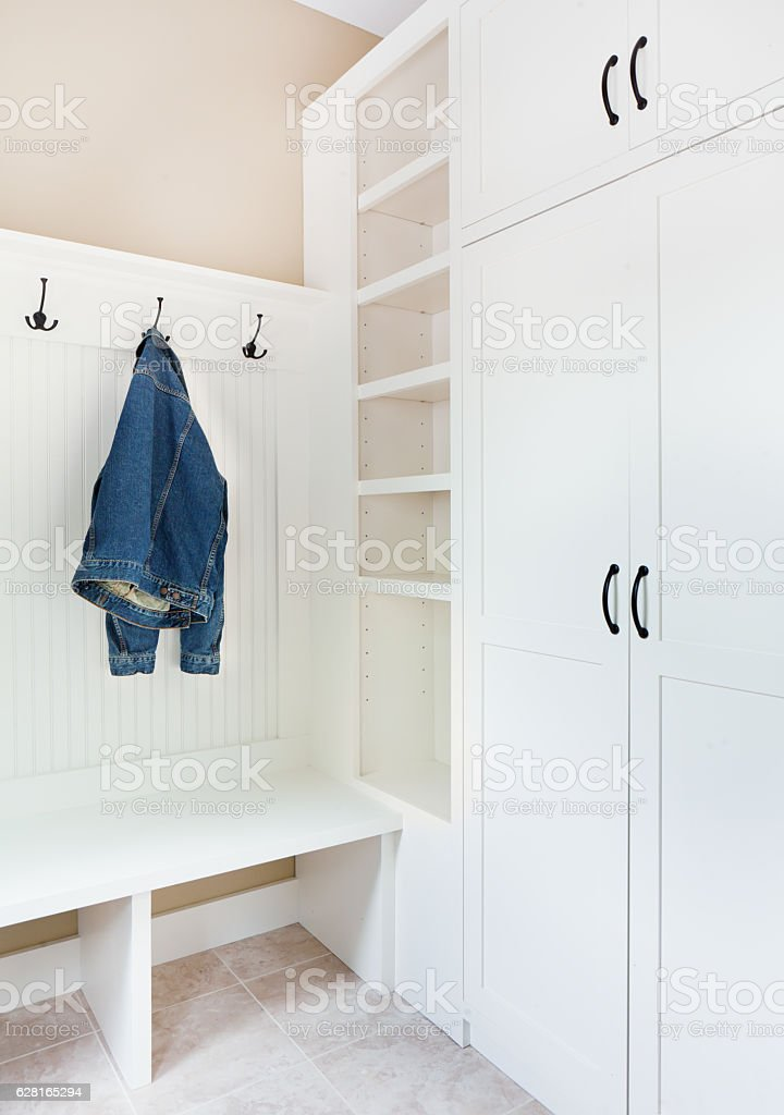 Newly Remodeled Home Improvement Mud Room Entry Storage stock photo