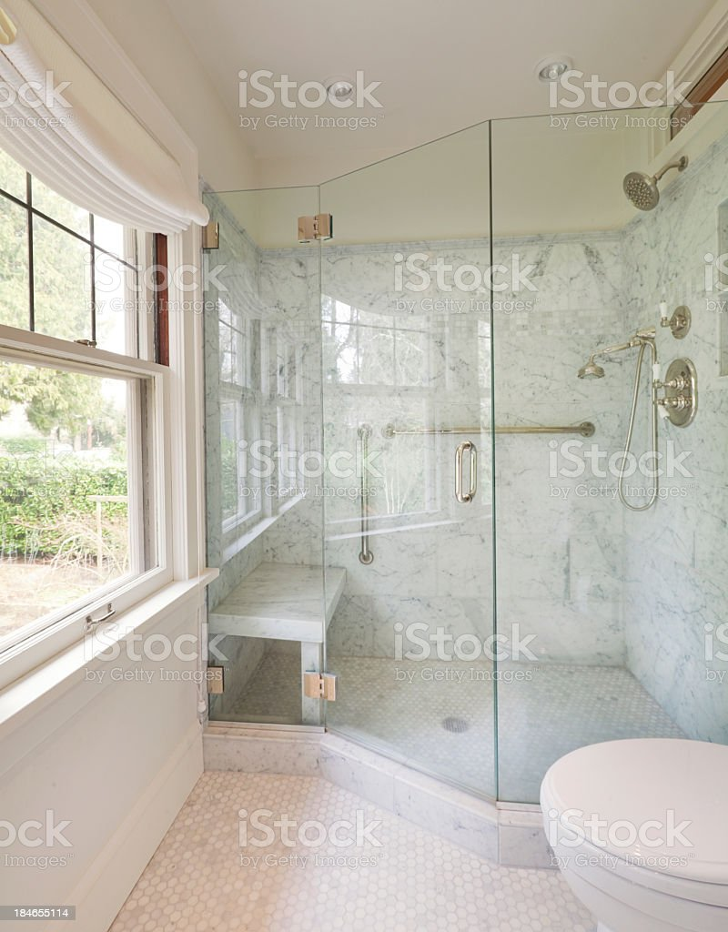 Newly remodeled modern bathroom stock photo