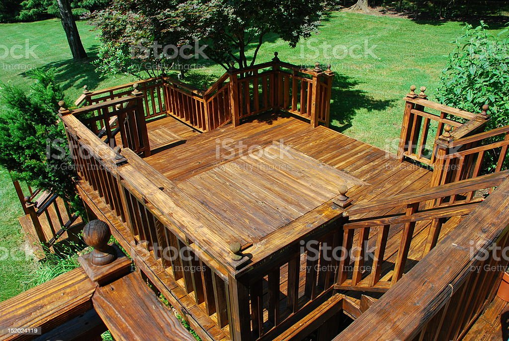 Newly stained deck stock photo