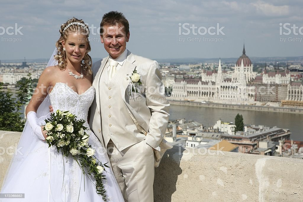 newly weds in Budapest royalty-free stock photo